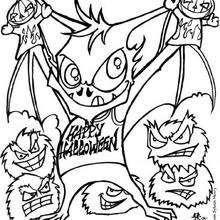 Desenho de um monstro-morcego do Halloween para colorir