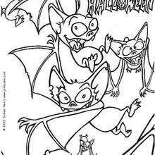 Desenho de um morcego voando para colorir