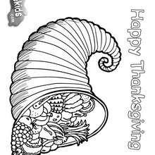 Dia de Ação de Graças, Desenho de uma cornucópia, o símbolo da abundância