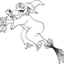 Desenho para colorir de uma Bruxa na sua vassoura