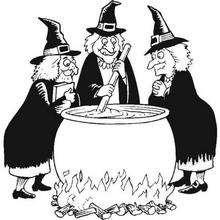 Desenho para colorir de Bruxas fazendo uma poção mágica