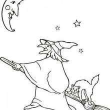 Desenho para colorir de uma Bruxa voando com sua vassoura