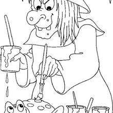 Desenho para colorir de uma Bruxa pintando um sapo