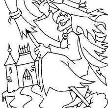 Desenho para colorir de uma Bruxa malvada voando
