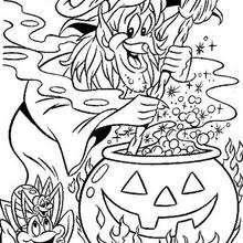Desenho para colorir de uma Bruxa fazendo sua poção mágica