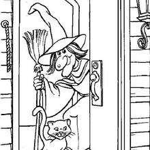 Desenho para colorir de uma casa de Bruxa no Dia das Bruxas