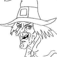 Desenho da cara de uma Bruxa asquerosa para colorir