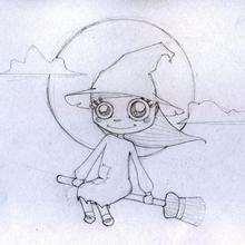 Bruxinha voando com sua vassoura
