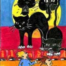 Desenho de gatos pretos do Dia Das Bruxas