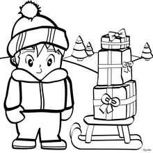 Desenho de um menino com seus presentes de natal para colorir