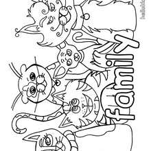 Desenho da família gato para colorir