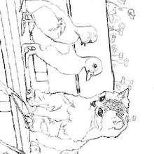 Desenho de um Gato com patinhos para colorir