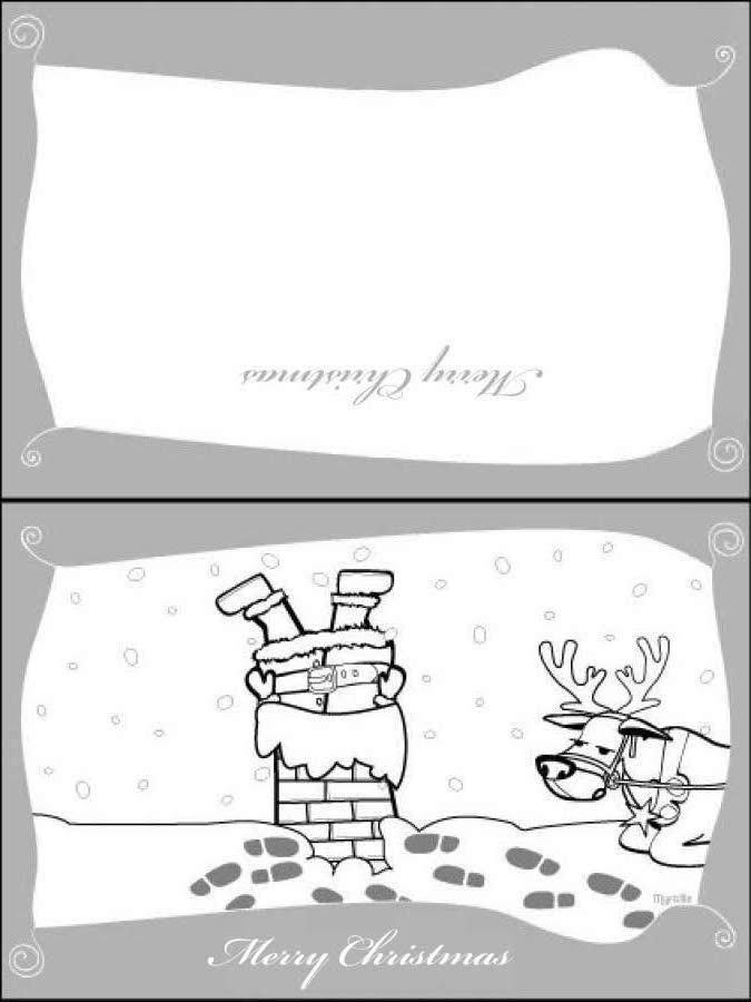 Cartão de Natal do Papai Noel descando a chaminé