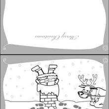 Rena, Cartão de Natal do Papai Noel descando a chaminé