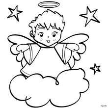 Desenho de um anjo natalino para colorir