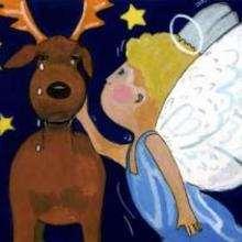 Ilustração de um anjo com uma Rena do Papai Noel
