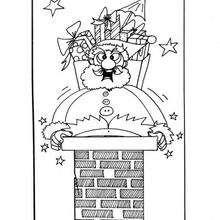 Desenho do Papai Noel na chaminé para colorir
