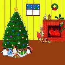 Quadro com uma árvore de natal