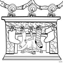 Desenho de meias na chaminé para colorir