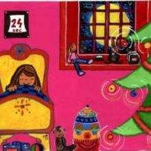 Gravura de um quarto no dia do natal