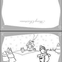 Cartão de Natal com um boneco de neve
