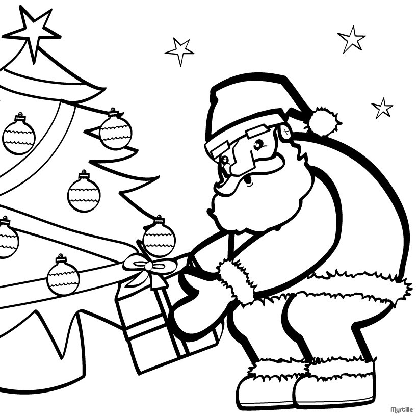 Desenhos Para Colorir De Desenho Do Papai Noel Com A Arvore De