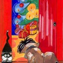 Ilustração de uma árvore de natal com presentes