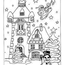 Desenhos Para Colorir De Desenho De Casinhas No Natal Para Colorir