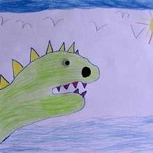 Como desenhar um dinossauro com sua mão