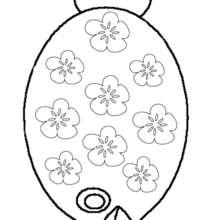 Desenho de um peixe com flores para colorir