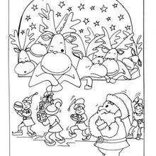 Desenho das divertidas Renas do Papai Noel para colorir