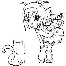 Desenho da Ana fantasiada de anjo no Dia das Bruxas para colorir