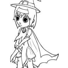 Desenho da Ana fantasiada de Bruxa no Dia das Bruxas para colorir