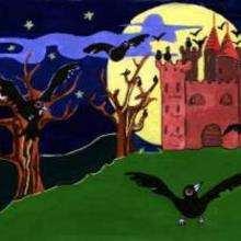 Desenho de um castelo mal assombrado do Dia das Bruxas