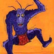 Ilustração de um monstro azul