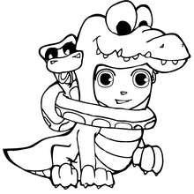 Desenho do Teo fantasiado e enrolado em uma cobra para colorir