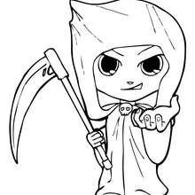 Desenho do Teo fantasiado de esqueleto no Dia das Bruxas para colorir