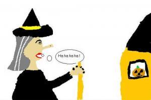 Desenho de uma bruxa maléfica