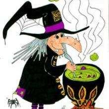 Desenho de uma bruxa fazendo uma poção mágica