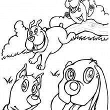 Desenho de chachorros correndo para colorir