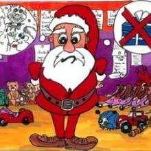 desenho, Ilustração do Papai Noel pensando