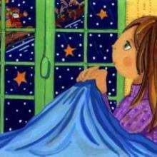 Gravura de uma menina vendo o Papai Noel no seu trenó