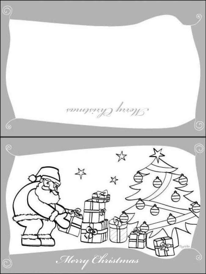 Cartão de Natal com o Papai Noel e os presentes