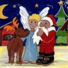 Ilustração de um anjo com uma Rena e com o Papai Noel