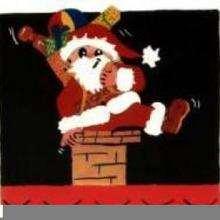 Gravura do Papai Noel descendo a chaminé