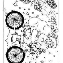 Desenho do Papai Noel na bicicleta para colorir