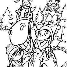 Desenho de Renas com crianças para colorir