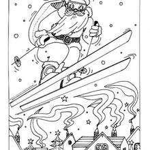 Desenho do Papai noel esquiando para colorir