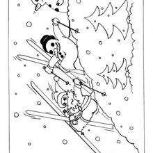 Desenho de um boneco de neve esquiando para colorir