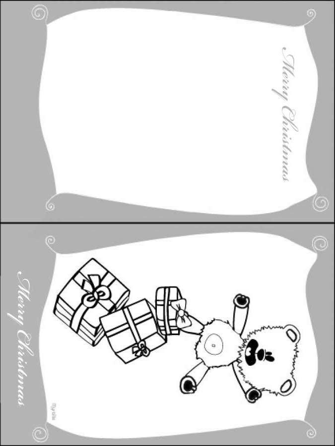 Cartão de Natal com um ursinho de pelúcia